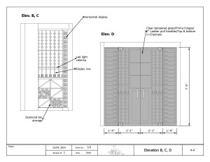 Custom Wine Cellar Drawing elevations B and C
