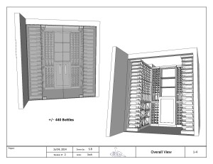 Custom Wine Cellar Drawing overall view