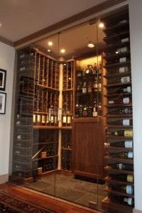 View Through Glass Doors into Custom Wine Cellar
