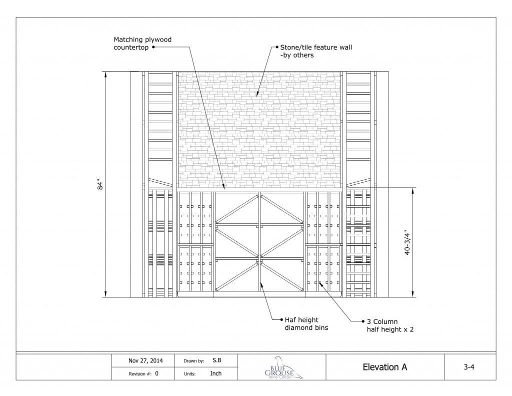 Modular Redwood Wine Cellar Drawing elevation A
