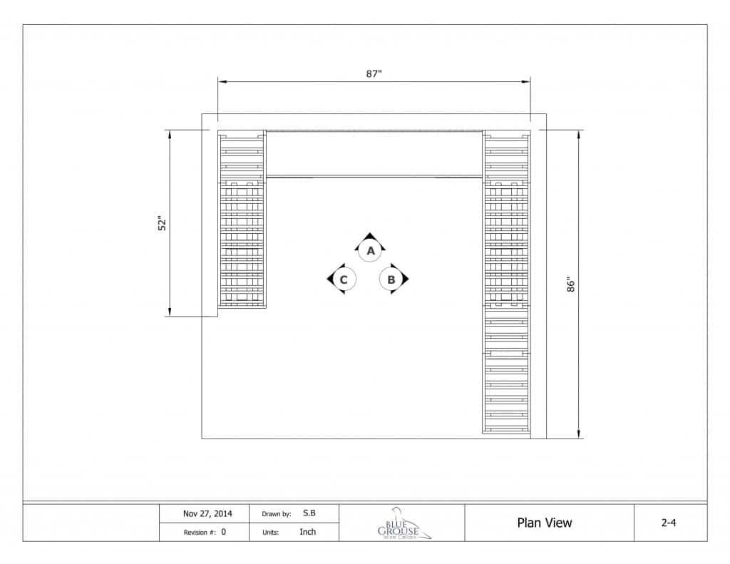 Modular Redwood Wine Cellar Drawing plan view