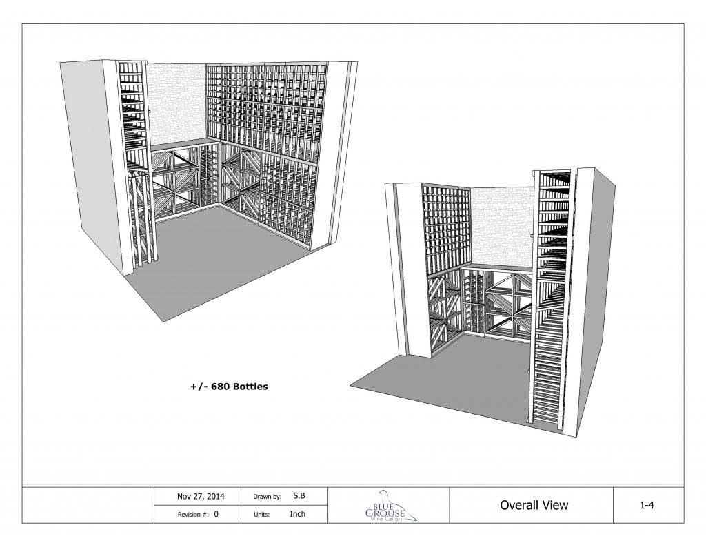 Modular Redwood Wine Cellar Drawings