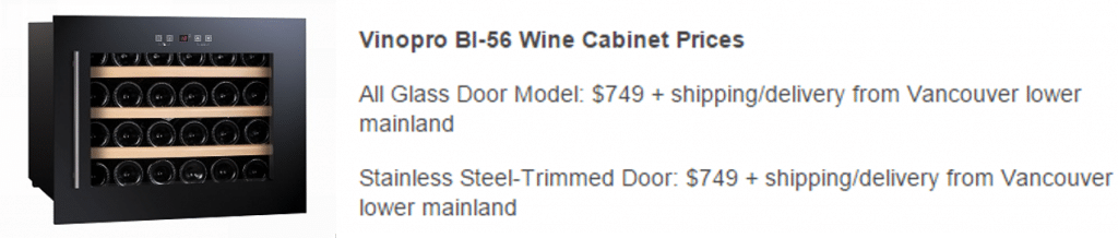 Vinopro BI-56 Wine Fridges