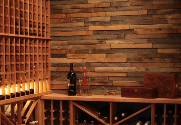 Canada Wine Cellar Backsplash Made from Reclaimed Wine Barrel