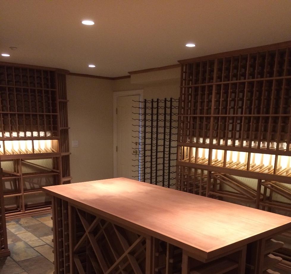 Custom Sapele Wine Cellar with Vintage View Wine Racking - Looking toward door