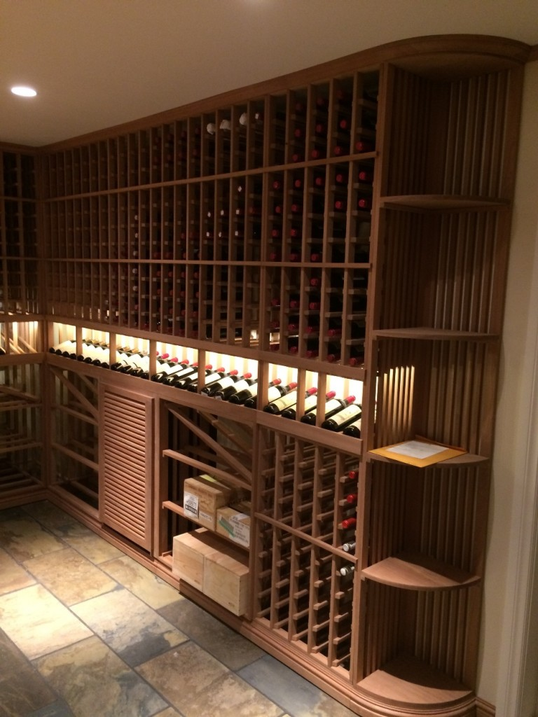 Quarter Round Display Shelf and Racking with Wine Bottles Loaded in