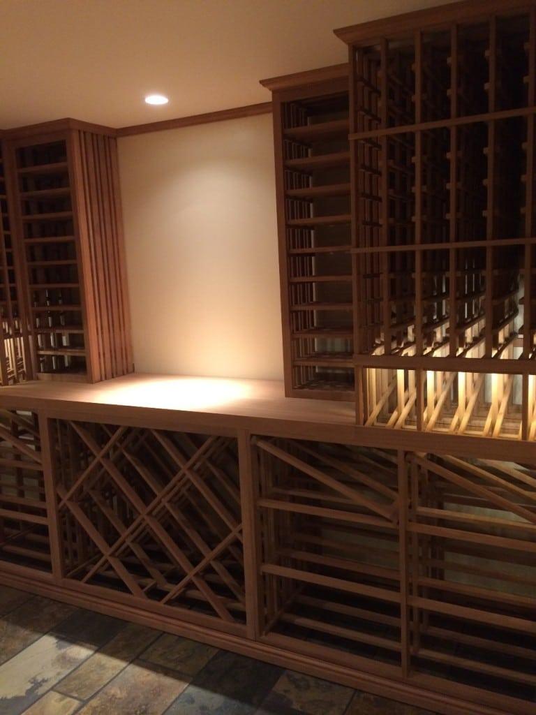 Tasting Area in custom sapele wine cellar in Vancouver