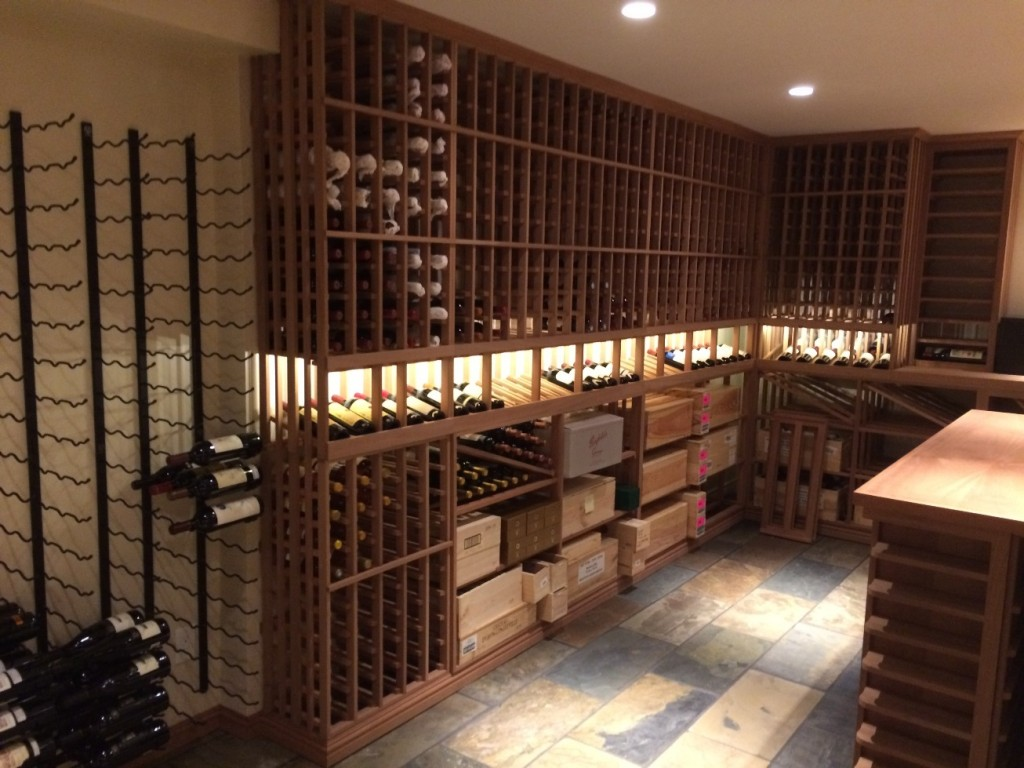Wooden Wine Racking with Bottles and Wood Cases -