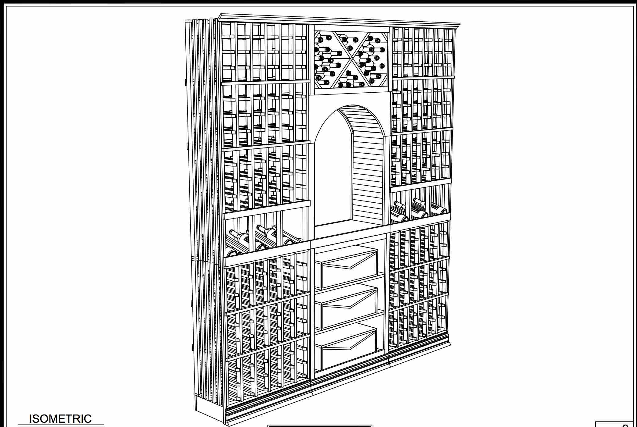CAD Drawing of Traditional Custom Wood Wine Cellar in West Vancouver