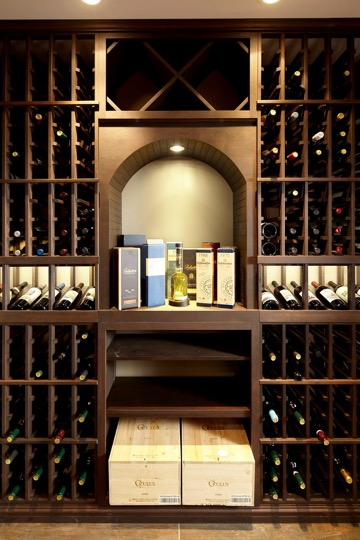 Custom Wood Wine Rack Design with Rectangular Bins for Wood Cases and Diamond Bins for Bulk Storage Made from Alder