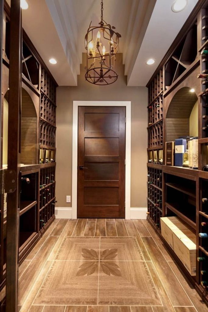Wine Cellar in Alder Wood with Dark Brown Stain and Chandelier